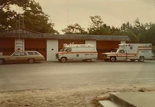 historic photo of the first 3 ambulances to the glen arbor twp fire dept