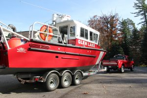fire rescue boat being hauled