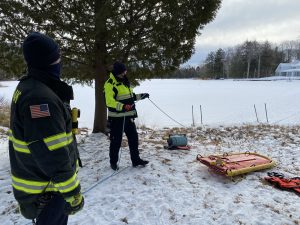 GLFD staff at winter water + ice rescue training