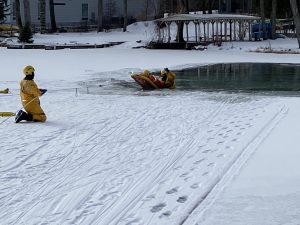 winter snow and ice; water rescue training
